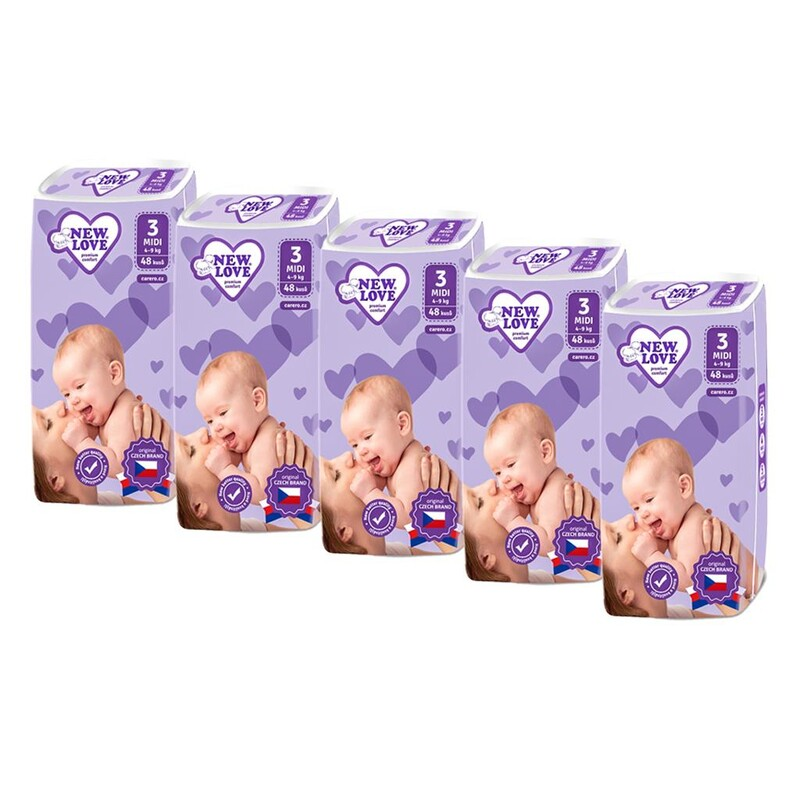 NEW LOVE - MEGAPACK Detské jednorazové plienky Premium comfort 3 MIDI 4-9 kg 5x48 ks