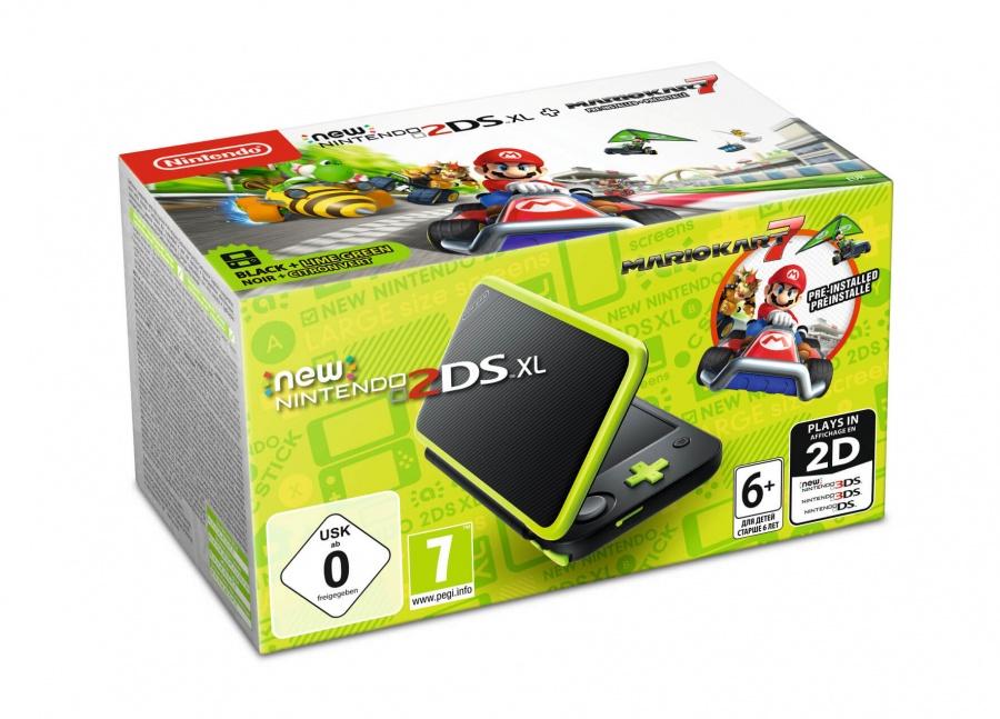 NINTENDO - New Nintendo 2DS XL Black & Lime Green + MK7 pre-inst