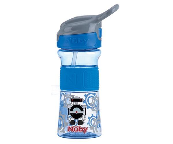 NUBY - Fľaša športová s mäkkou sklopiteľnou slamkou 360 ml, modrá, 3+