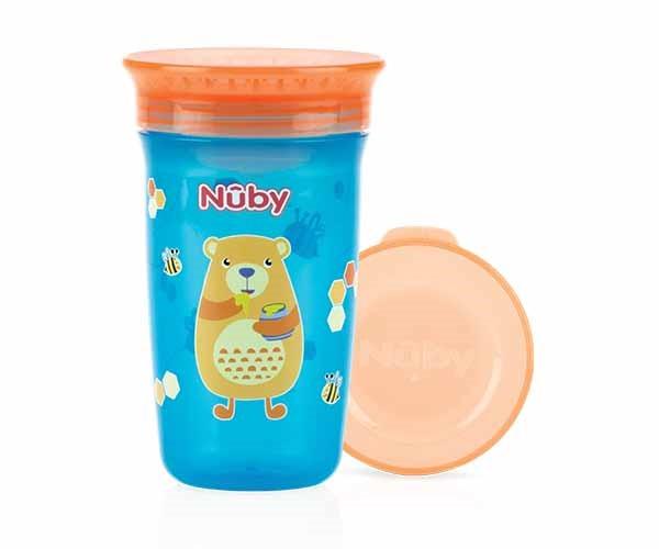 NUBY - Hrnček netečúci 360° 300ml, 6m+ modrá/oranžová