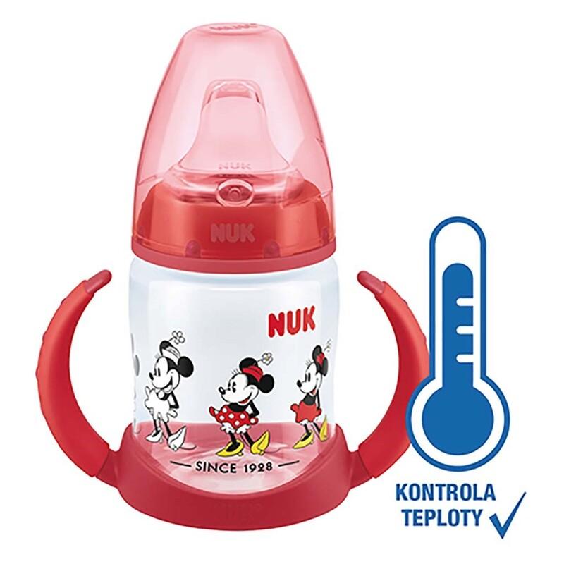 NUK - Dojčenská fľaša na učenie Disney Mickey s kontrolou teploty 150 ml červená