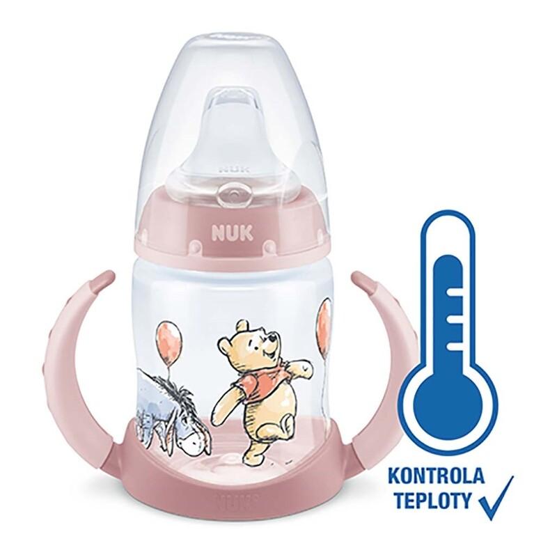 NUK - Dojčenská fľaša na učenie Medvedík Pú s kontrolou teploty 150 ml ružová