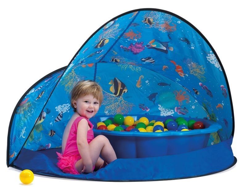 PARADISO - Paradiso Sun&Fun box Modrý stan s pieskoviskom - bazénom mušľa a loptičkami T02836