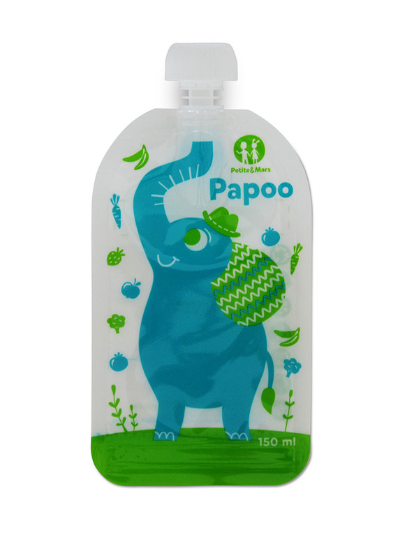 PETITE&MARS - Kapsička na jedlo Papoo Original Elephant 6 ks