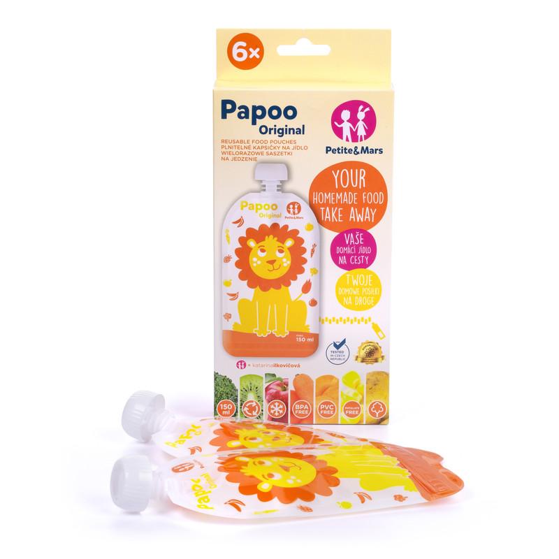 PETITE&MARS - Kapsička na jedlo Papoo Original Lion 6 ks