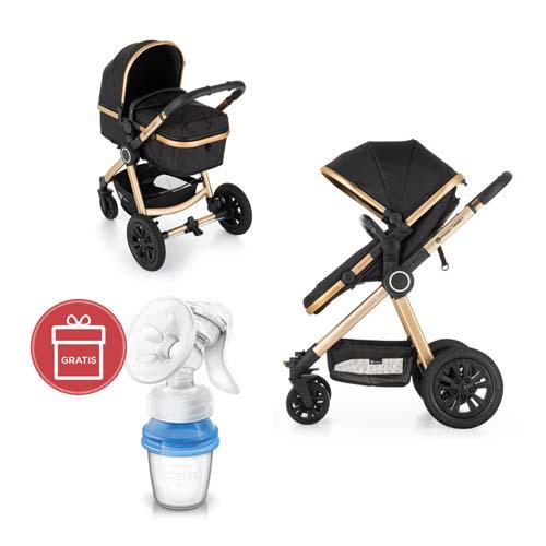 PETITE&MARS - Kočík kombinovaný 2v1 Grand II Golden Ebony + Avent odsávačka mater.mlieka
