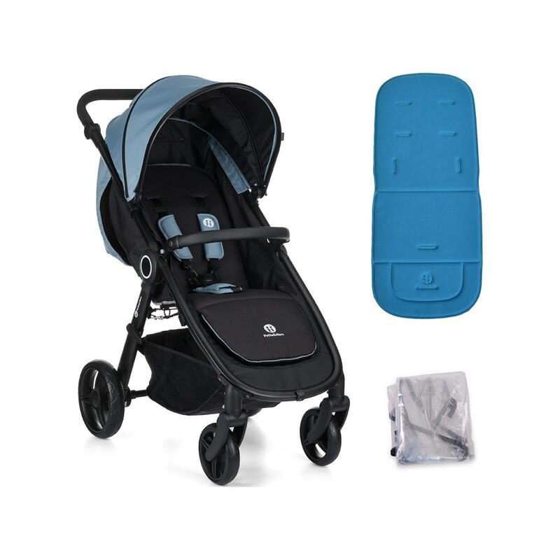 PETITE&MARS - Kočík Street Steel Blue s vložkou a pláštenkou