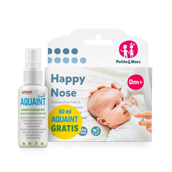 PETITE&MARS - Odsávačka nosných hlienov na vysávač Happy Nose 0m+50ml Aquaint gratis
