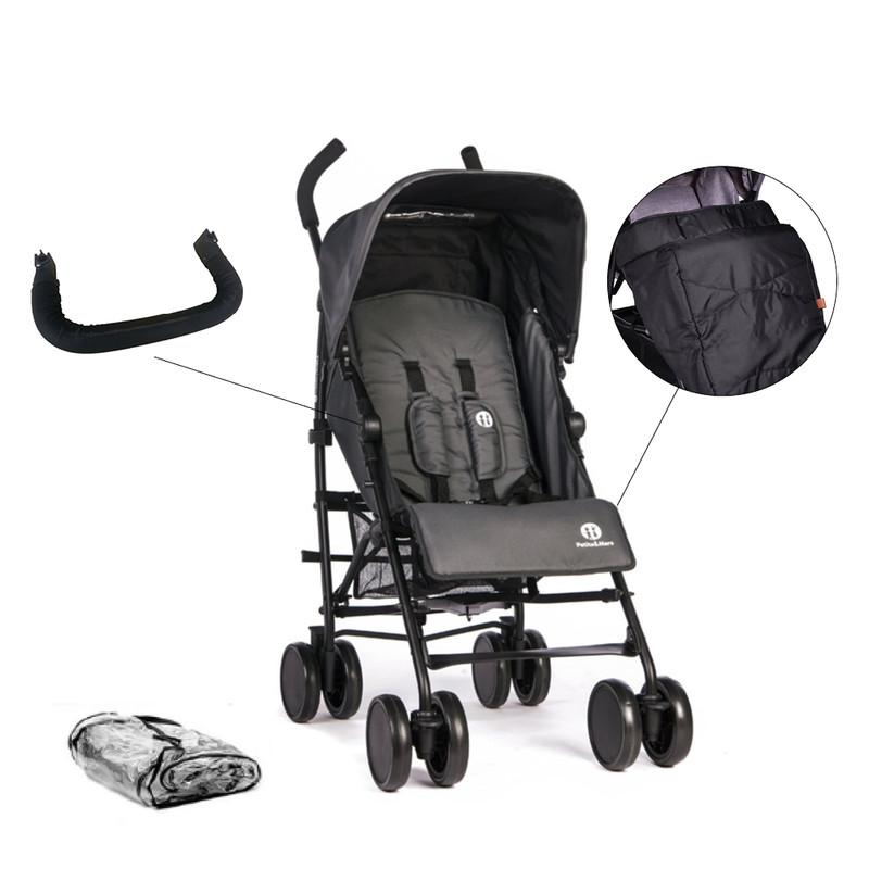 PETITE&MARS - Set kočík golfový Musca Carbon Grey + madlo + nánožník + pláštenka