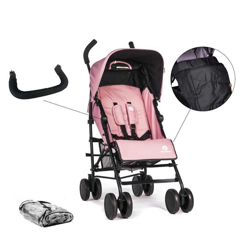 PETITE&MARS - Set kočík golfový Musca Rose Pink + madlo + nánožník + pláštenka