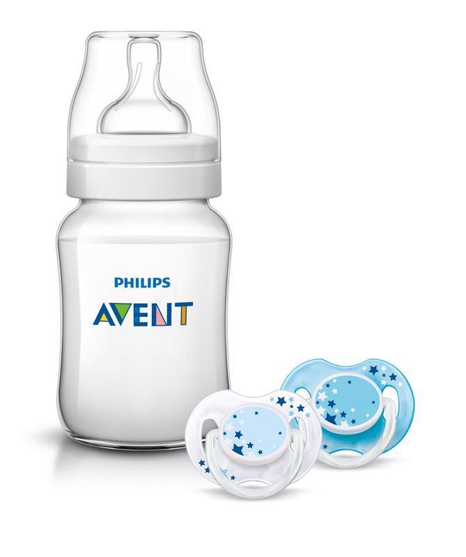 PHILIPS AVENT - Fľaša Classic+ 260 ml + cumlík nočný 0-6m, 2 ks - modrý