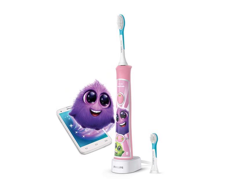 PHILIPS AVENT - Zubná kefka pre deti elektrická Sonicare ružová s bluetooth