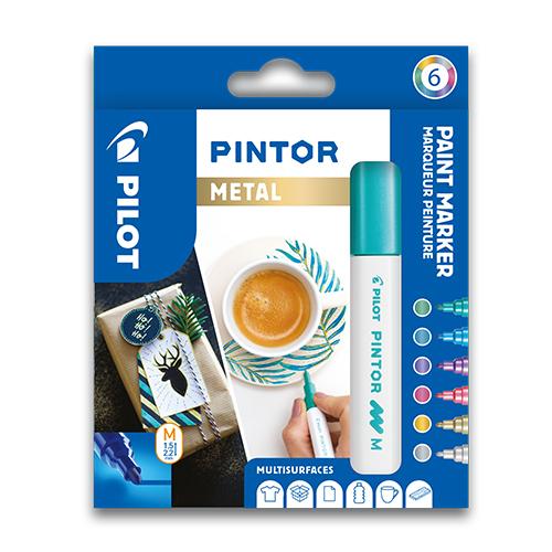 "PILOT - Dekoračný popisovač ""Pintor Metall"", sada 6 ks, hrot M"