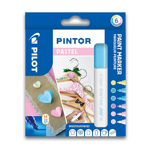 """PILOT - Dekoračný popisovač """"Pintor Pastel"""", sada 6 ks, hrot M"""