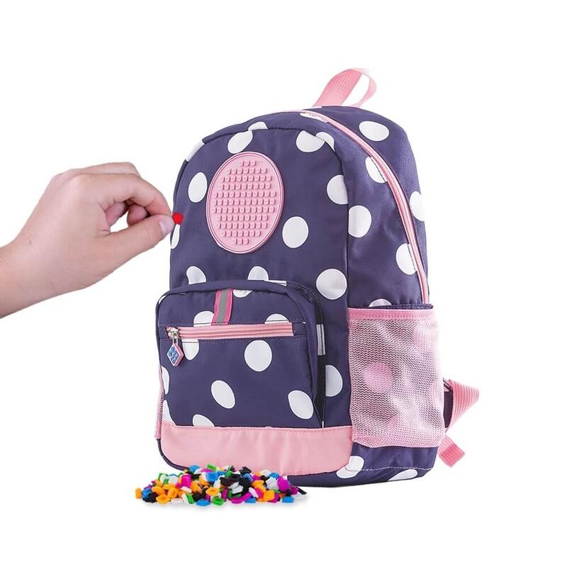 PIXIE CREW - detský batoh MODRÝ s bielymi bodkami