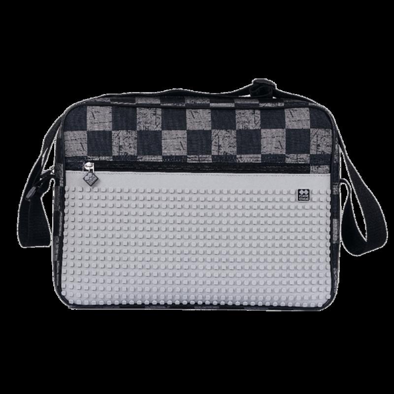 PIXIE CREW - Kreatívna taška cez rameno ŠEDÉ KOCKY / ŠEDÁ