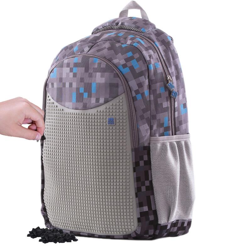 PIXIE CREW - Kreatívny študentský batoh Minecraft šedo-modrý