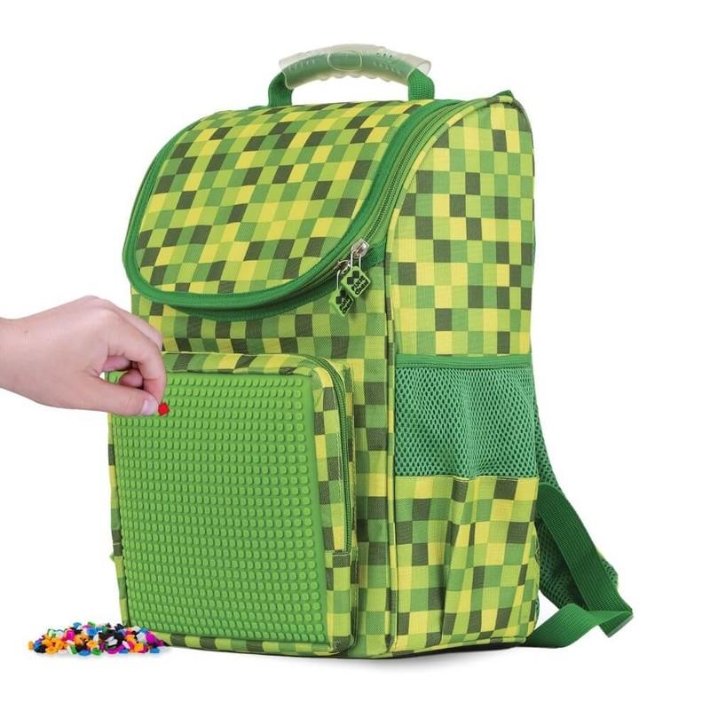 PIXIE CREW - Školská taška kockovaná zelená 21 l