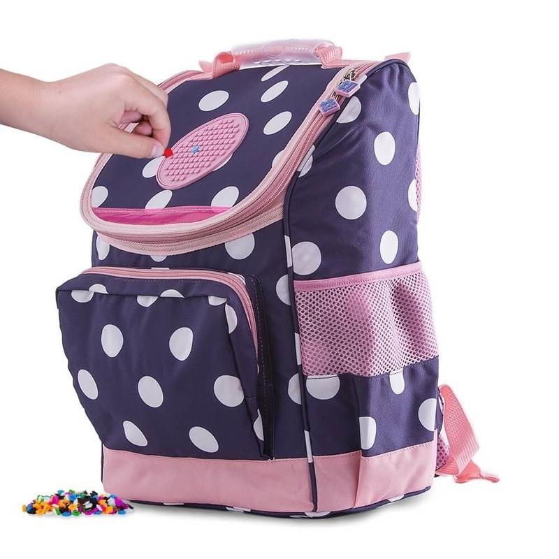 PIXIE CREW - Školská taška s guličkami modro-ružová 21 l