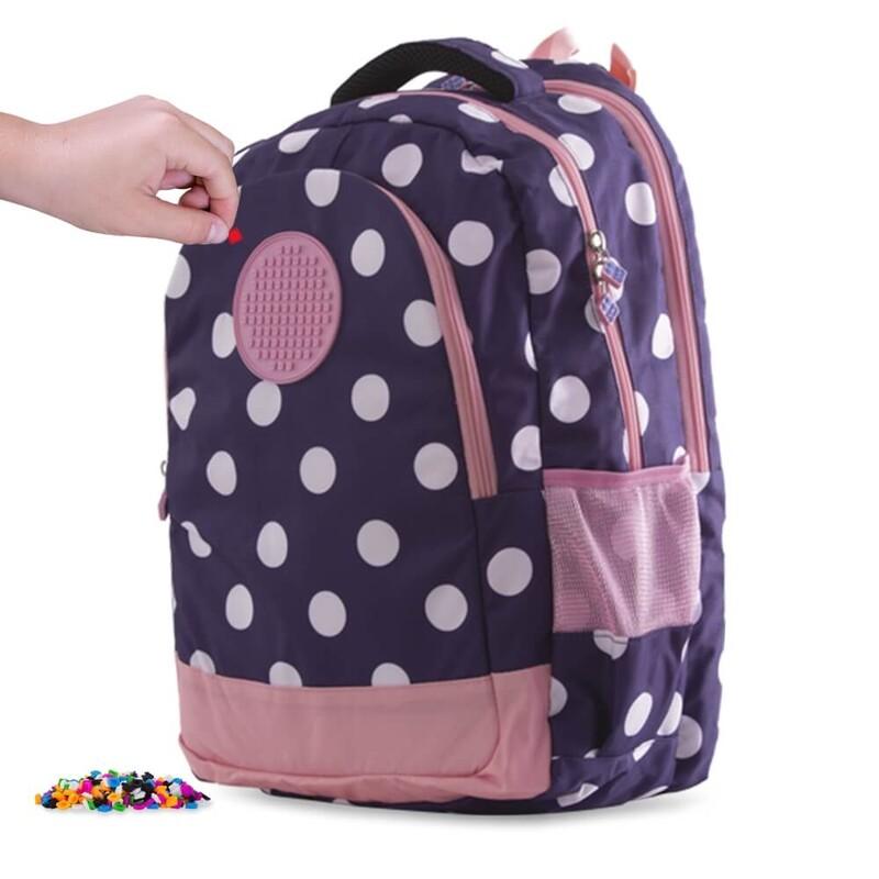 PIXIE CREW - študentský batoh MODRÝ s bielymi bodkami