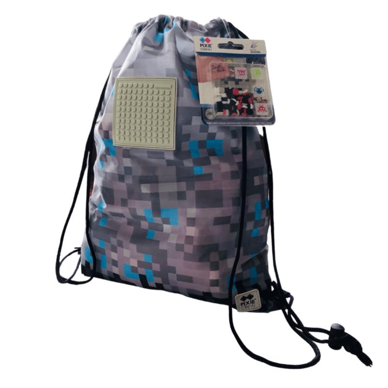 PIXIE CREW - vak na chrbát Minecraft šedo-modrý