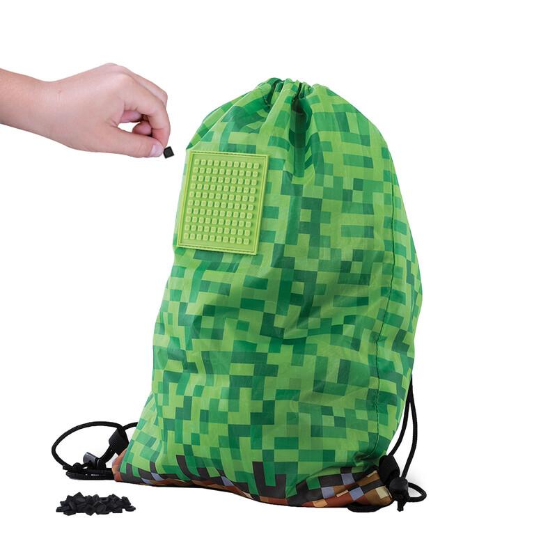 PIXIE CREW - vak na chrbát Minecraft zeleno-hnedý