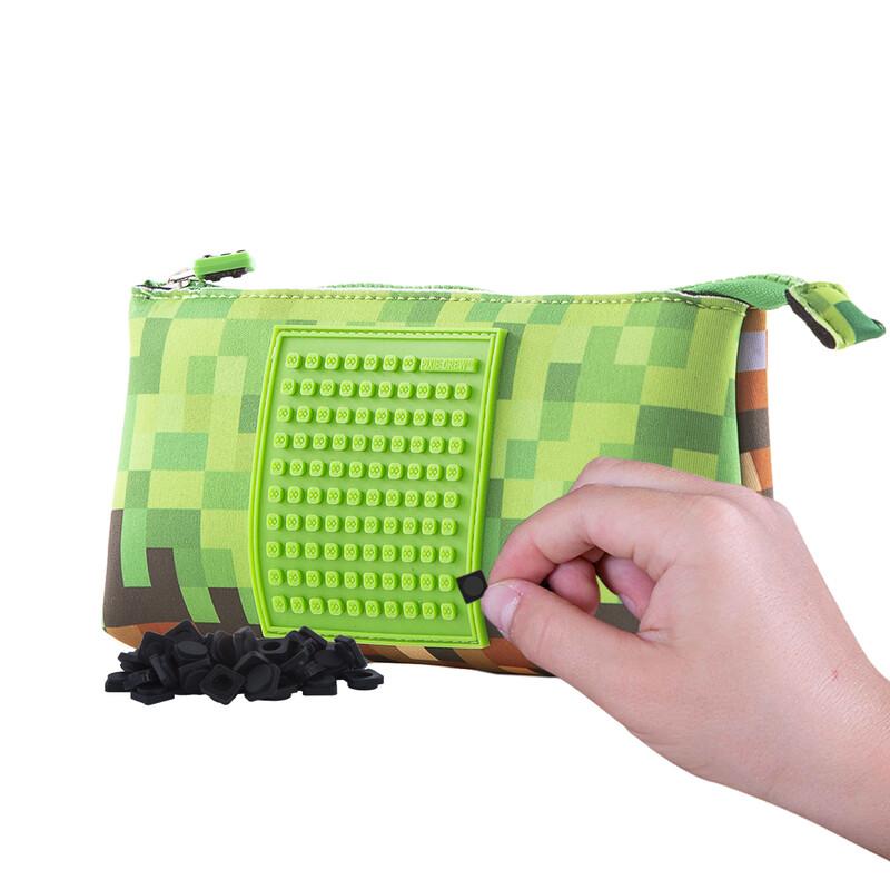 PIXIE CREW - veľké puzdro Minecraft zeleno-hnedé