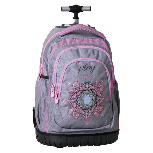 PLAY BAG - Školský batoh na kolieskach Trolley Play, Ornament Grey