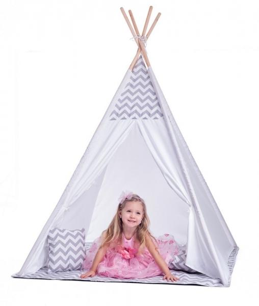PLAY - Play Stan pre deti teepee, típí s výbavou - bielo/sivý