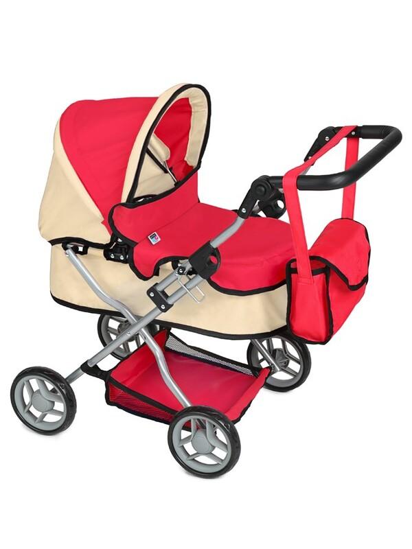 PLAYTO - Hlboký kočík pre bábiky Viola červený