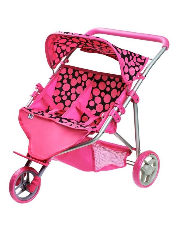 PLAYTO - Športový kočík pre 2 bábiky Klaudie ružový