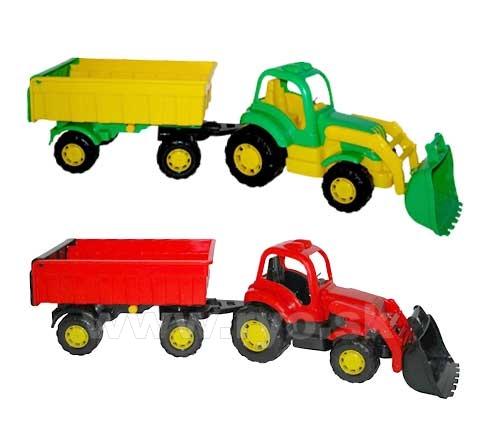 POLESIE - Traktor- nakladač s prívesom 2farby - modrá