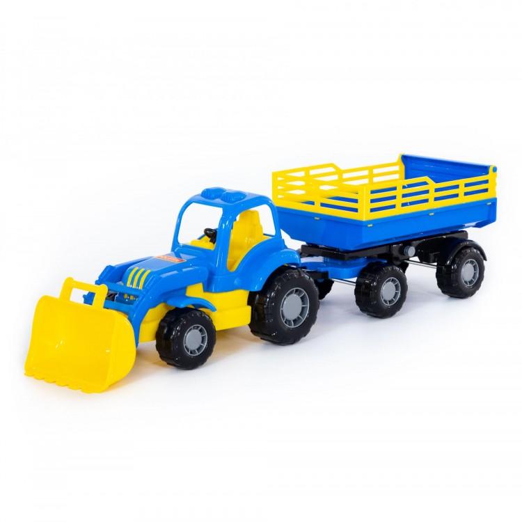 POLESIE - Traktor-nakladač s vlečkou 46cm - modrá