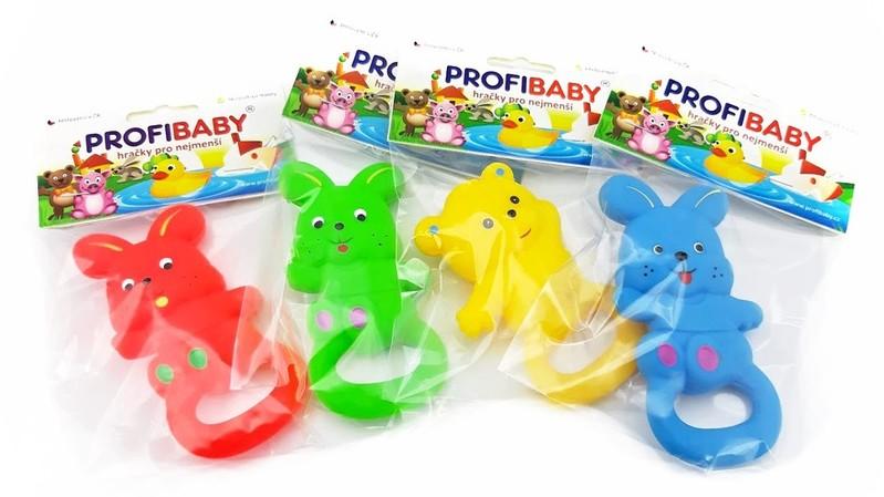 PROFIBABY - Gumená hračka s úchytom 11cm/4farby - žltá