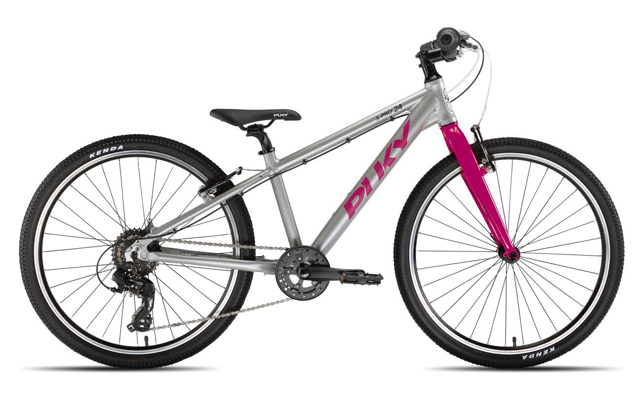 PUKY - Detský bicykel S PRO 24-8 Alu - strieborná/berry