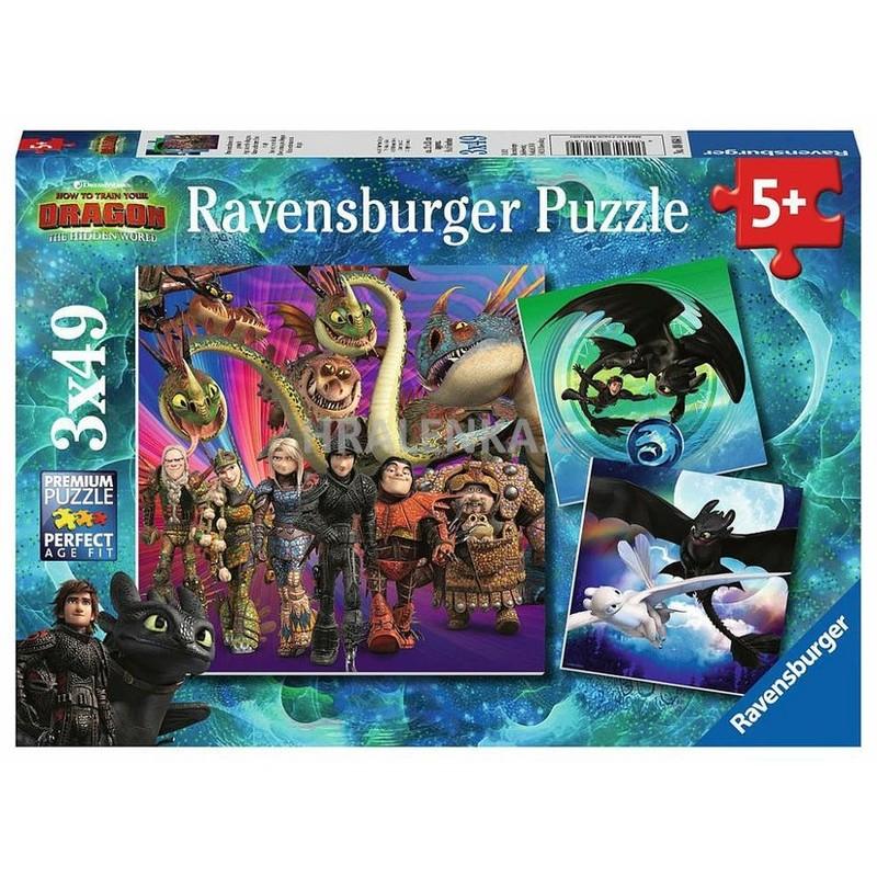 RAVENSBURGER - Ako si vycvičiť draka 3 3x49 dielikov