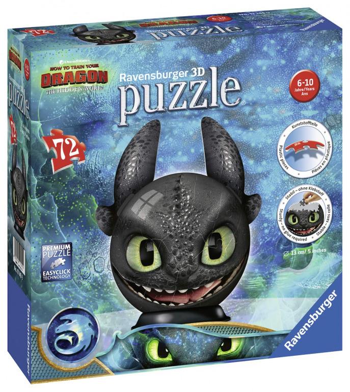 RAVENSBURGER - Puzzle-Ball Ako si vycvičiť draka 3: Bezzubý 72 dielikov