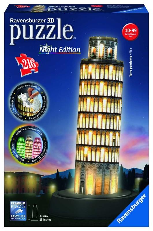 RAVENSBURGER - Šikmá veža v Pise (Nočná edícia) 216 dielikov 3D
