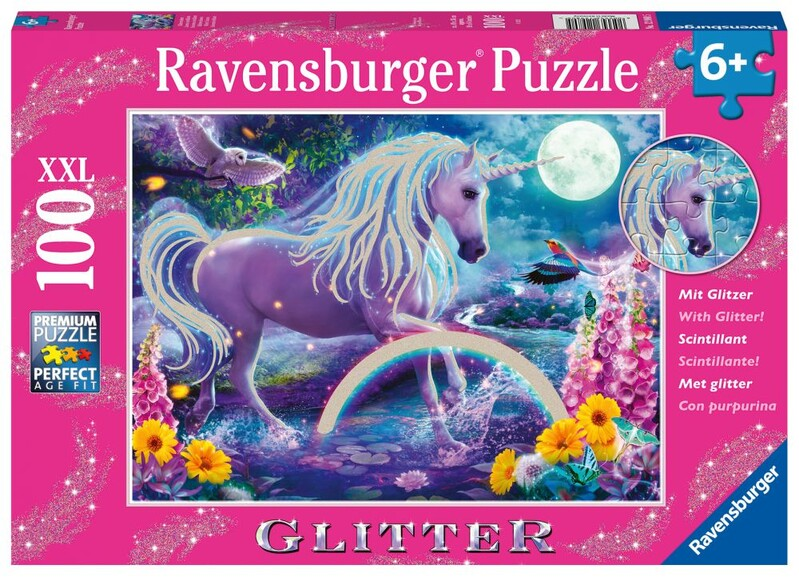 RAVENSBURGER - Trblietavé Puzzle Žiariaci Jednorožec 100 Dielikov