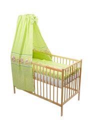 ANTONY FASHION - Štvordielna suprava - obliečky + mantinel + baldachýn (zelená) - Mackovia, veľkosť: 120x90 (paplón) + 40x60 (vankúš)
