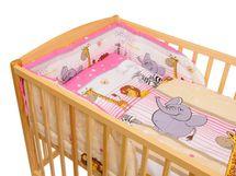 ANTONY FASHION - Trojdielna súprava - obliečky + mantinel (ružová) - ZOO, veľkosť: 120x90 (paplón) + 40x60 (vankúš)