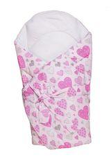 ANTONY FASHION - Zavinovačka s výstužou (ružová) - Srdiečka, veľkosť: 70x70 (cm)