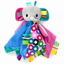 BRIGHT STARTS - Dečka maznacia s hlavou Cuddle'n Tag slon 35x35cm, 0m+, Slon