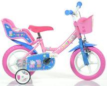 """DINO BIKES - Detský bicykel 12"""" 124RLPIG Pepa Pig so sedačkou pre bábiku a košíkom"""