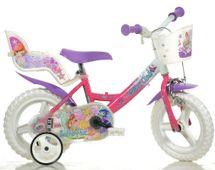 """DINO BIKES - Detský bicykel - 12""""Dino 124RLWX7 so sedačkou pre bábiku a košíkom s licenciou Winx"""
