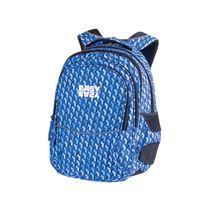 EASY - Školský ruksak trojkomorový modrý vzor, profilovaná zadná strana, 26 l