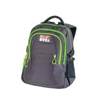 EASY - Školský ruksak trojkomorový šedé kocky,zelené zipsy, profilovaná zadná strana, 26 l