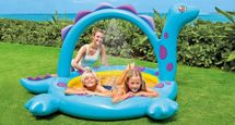 INTEX - Nafukovací detský bazénik Dinosaurus so sprškou 57437