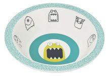 LÄSSIG - detská mištička, Bowl with Silicone Little Monsters bouncing bob