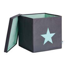 LOVE IT STORE IT - Box na hračky s krytom - šedý, zelená hviezda